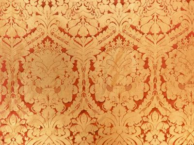 Faux Silk Damask Rust
