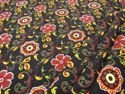 Fire Flower Needlecord Black I126
