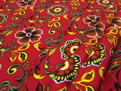 Fire Flower Needlecord Red I127
