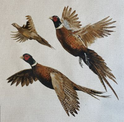 Organic Cotton Flying Pheasant Cushion Panel