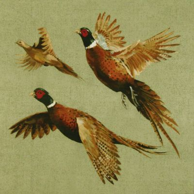 Shimmer Velvet Flying Pheasants Cushion Panel Sage