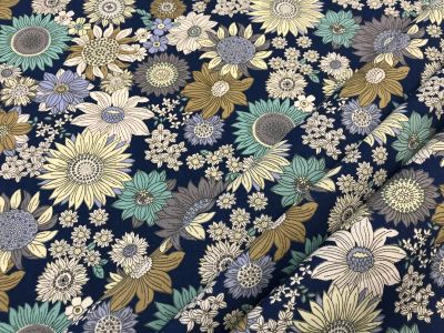 French Sunflower Poplin Blue C457