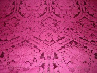 Faux Silk Damask Fuschia