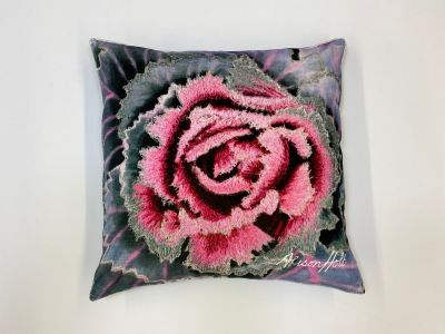 Alison Holt Green Cabbage Cotton Velvet Cushion