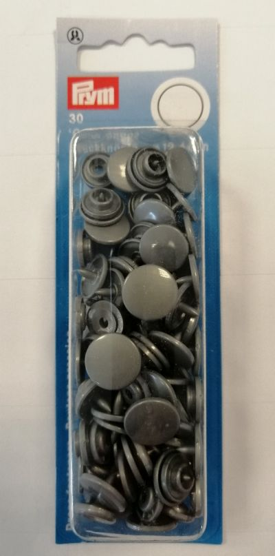 Prym Non Sew Colour Snap Fasteners Silver Grey