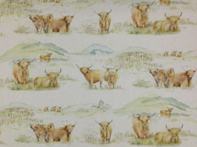 Voyage Highland Cattle Linen  Sample