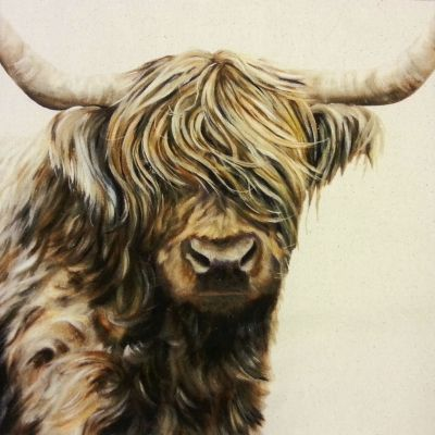 Organic Cotton Farmyard Faces Highland Cow Natural Panel
