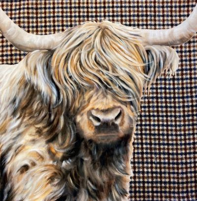 Highland Cow Tweed Cotton Velvet Cushion Panel