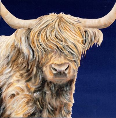 Highland Cow Navy Cotton Velvet Cushion Panel