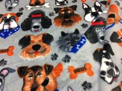 Multi Dogs Cuddle Fleece Grey I118