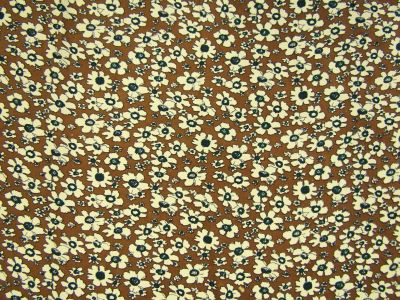 Retro Flowers Needlecord Tan I161