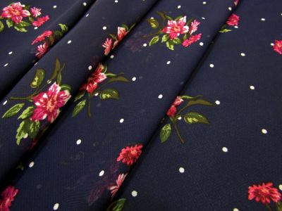 Dotty Flower Chiffon Navy I165
