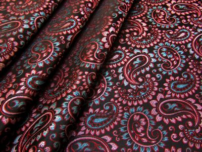 Paisley Brocade Black Pink Turquoise I171