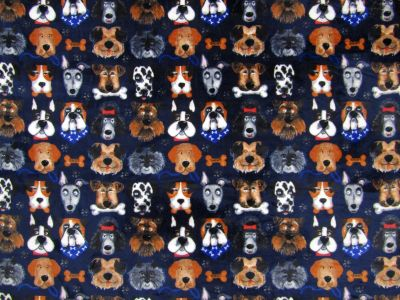 Multi Dogs Cuddle Fleece Navy I175