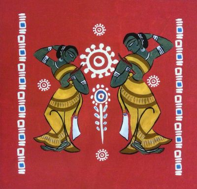 Indian Ocean Mumbai Dancers Red Cushion Panel