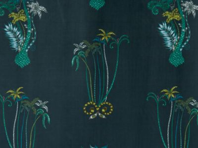 Clarke & Clarke Jungle Palms Navy Velvet
