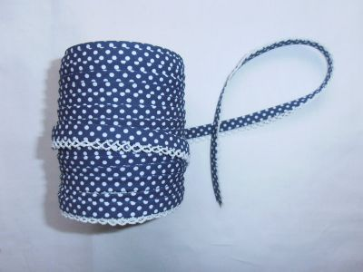 Navy Spotty Lace Bias Binding