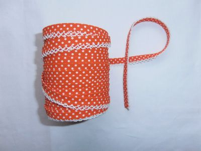 Orange Spotty Lace Bias Binding