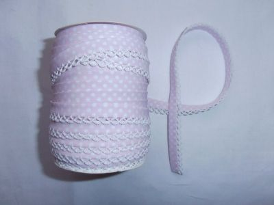 Baby Pink Spotty Lace Bias Binding