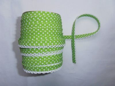 Green Spotty Lace Bias Binding