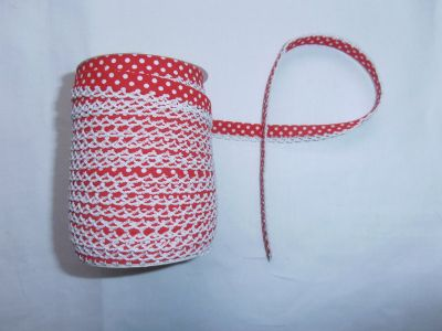 Red Spotty Lace Bias Binding