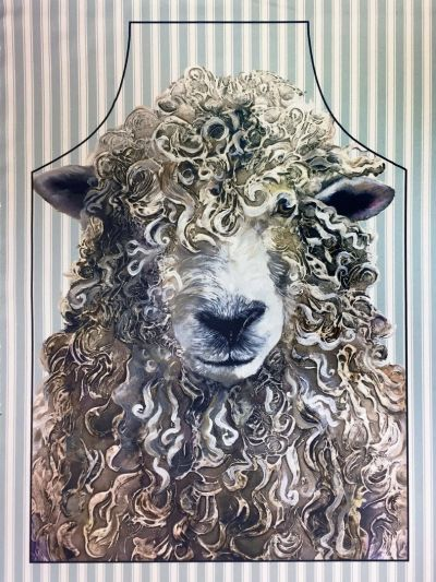 Farmyard Faces Longwool Ram Apron Duck Egg Stripe