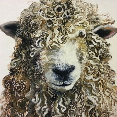 Organic Cotton Farmyard Faces Longwool Ram Natural Panel