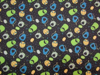 Brushed Cotton Monsters Black Green Blue D74
