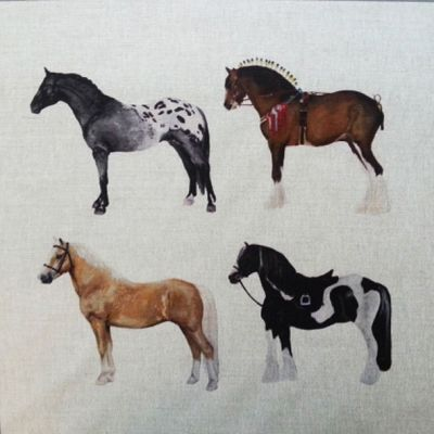 Multi Horses Horse Cushion Panel 18