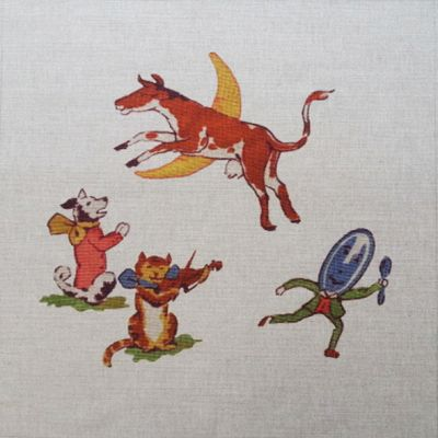 Tex Ex Vintage Nursery Hey Diddle Diddle Cushion Panel