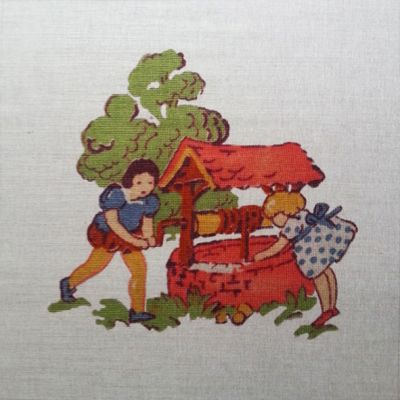 Tex Ex Vintage Nursery Jack And Jill Cushion Panel
