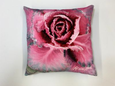 Alison Holt Pink Cabbage Cotton Velvet Cushion