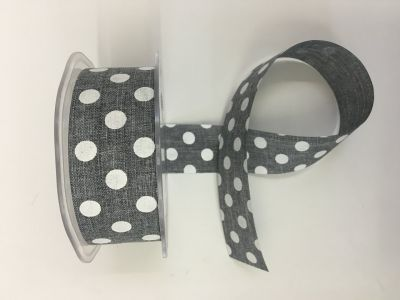 Polka Dot Faux Burlap Grey 033