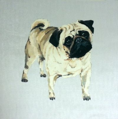 Pug Velvet Dog Cushion Panel