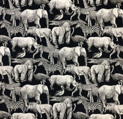 Africa Tapestry Navy Blue Silver R15
