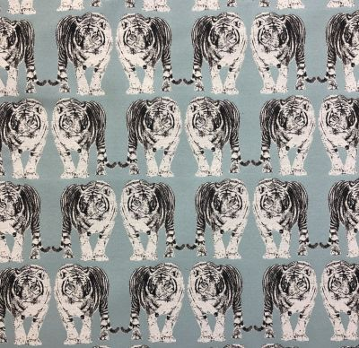 Tiger Tapestry Duck Egg Blue Silver R16