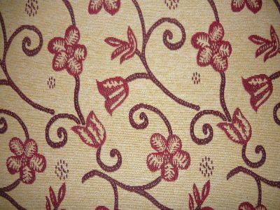 ST Red Floral Tapestry Fabric D2