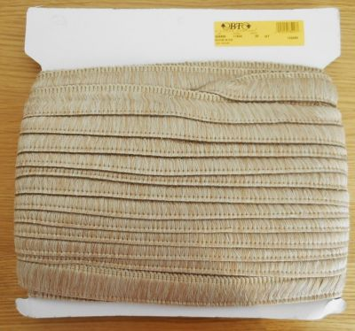 35mm Deep Ruche Fringe Trim Beige