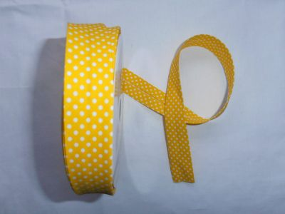 Yellow Spotty Bias Binding