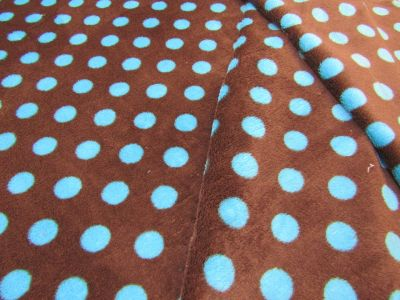 Spotty Cuddle Fleece Brown Turquoise I47