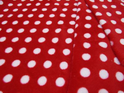 Spotty Cuddle Fleece Red White I45