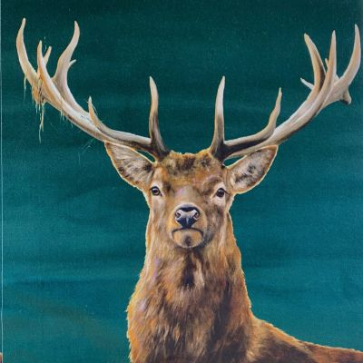 Stag Forest Cotton Velvet Cushion Panel