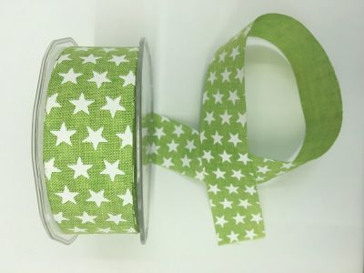 Stars Faux Burlap Ribbon Lime Green 016