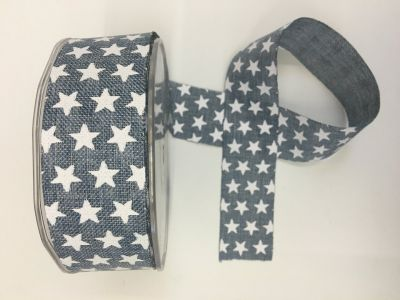 Stars Faux Burlap Ribbon Denim 023