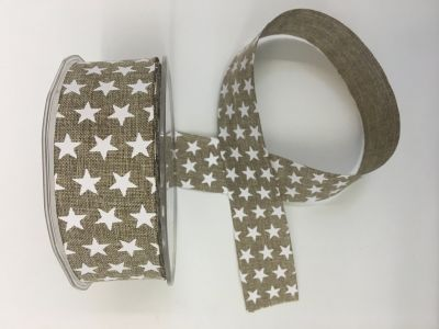 Stars Faux Burlap Ribbon Natural 040
