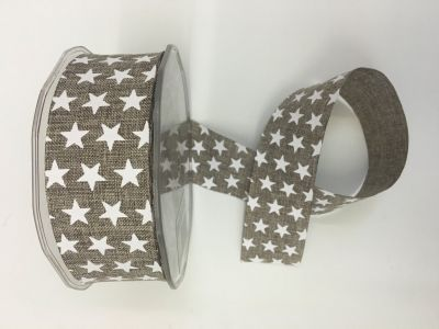 Stars Faux Burlap Ribbon Brown 045