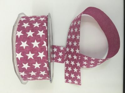 Stars Faux Burlap Ribbon Raspberry 078