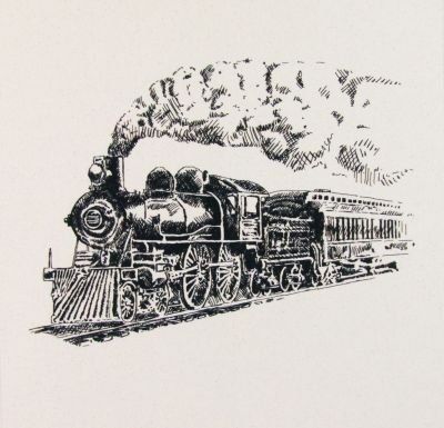 Organic Cotton Cushion Panel Vintage Vehicles Steam Train