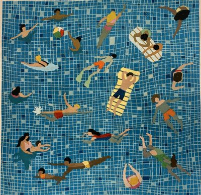 Swimmers Velvet Cushion Panel