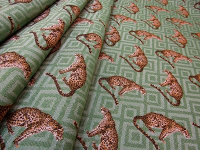 Leopard Tapestry Green T200  Sample